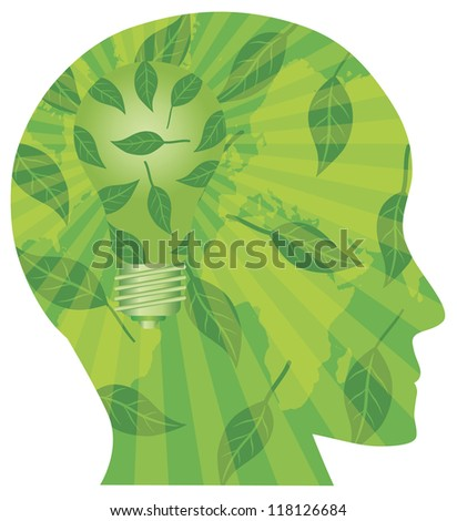 Human Head Silhouette with Light Bulb Go Green Leaves and World Map Vector Illustration Isolated on White Background