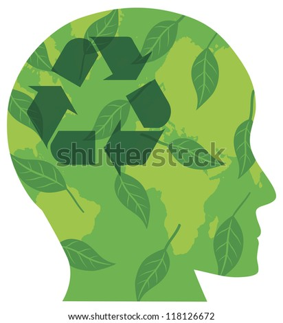 Human Head Silhouette with Recycle Symbol Go Green Leaves and World Map Vector Illustration Isolated on White Background