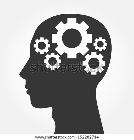 Human head silhouette with set of gears as a brain - idea and innovation concept