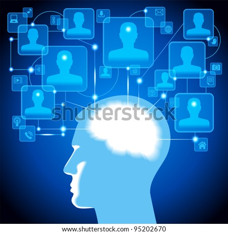 human head. social media, communication in the global computer networks.File is saved in AI10 EPS version. This illustration contains a transparency