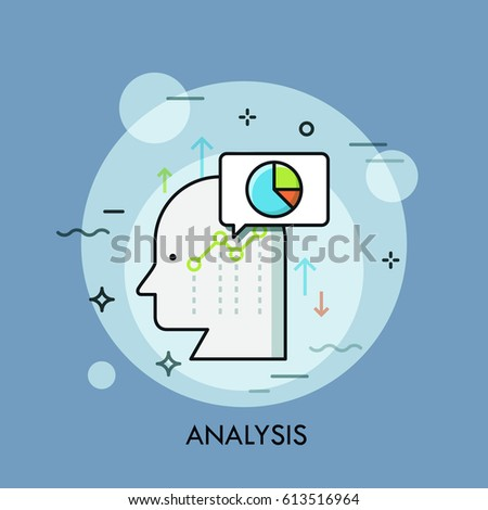 Human head, speech bubble, graphs and charts. Business analysis, analytical thinking, growth strategy development concept. Vector illustration in thin line style for website, banner, poster, report.
