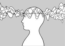 Human head spirit power energy wave vector abstract art illustration design hand drawing