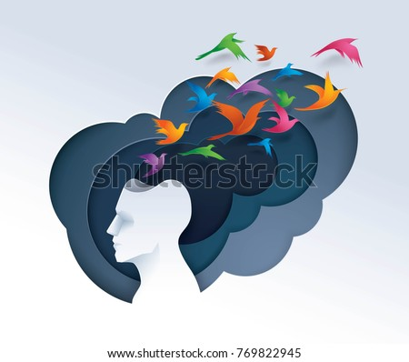Human head with colorful birds flying from head, freedom and relax mind, Creative ideas, emotions or psychology concept, Think outside the box, Paper art vector and illustration.