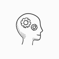 Human head with gear vector sketch icon isolated on background. Hand drawn Human head with gear icon. Human head with gear sketch icon for infographic, website or app.