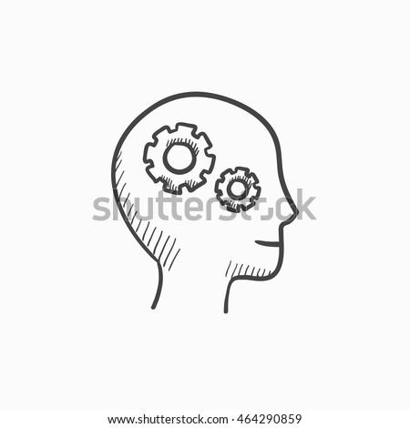 human head with gear vector