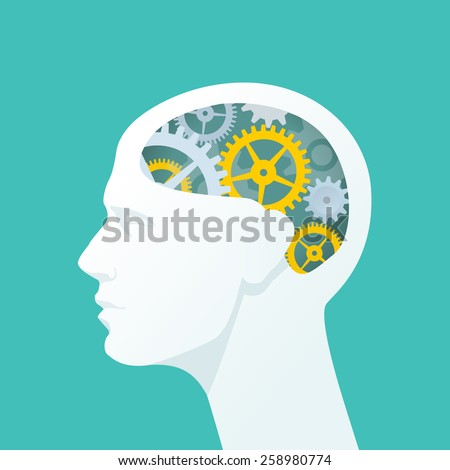 human head with gears. head...