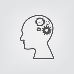 Human head with gears. Head thinking. icon of head.  Concept of idea generation.