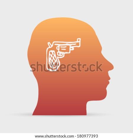 Human head with hand drawn gun icon background illustration