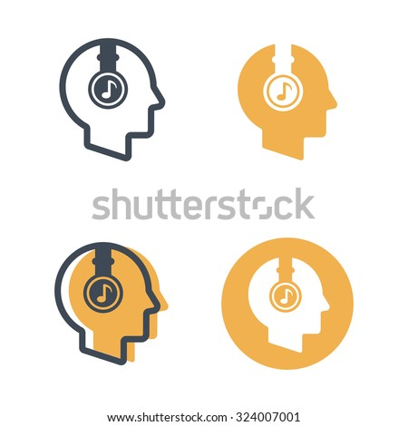 Human head with headphones set of four styles vector musical icons isolated on white background