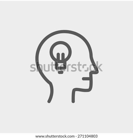 human head with idea icon thin
