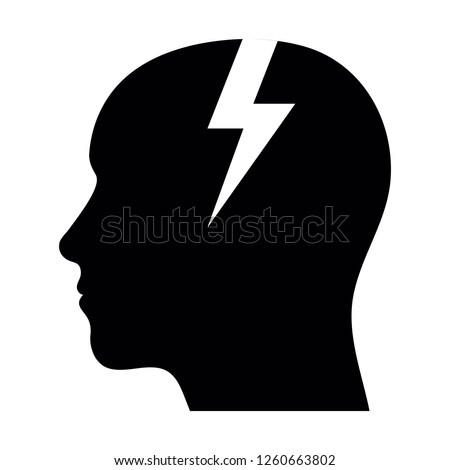 Human head with lightning bolt glyph icon. Artificial intelligence. Silhouette symbol. Brain charging. Negative space.