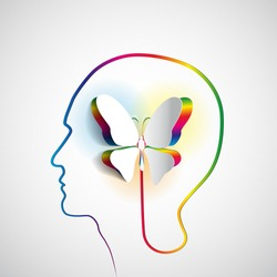 Human head with paper butterfly - symbol Freedom and creativity - design concepts