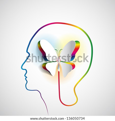 Human head with paper butterfly symbol Freedom and creativity design concepts