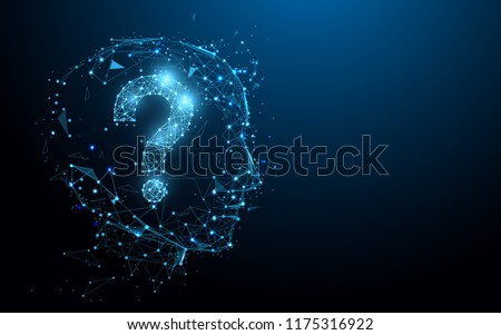Human head with question mark form lines, triangles and particle style design. Illustration vector