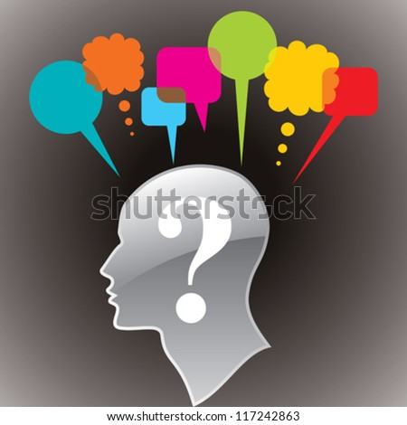 """Human head with question mark symbol. """"Doubt"""" concept and thought bubble - stock vector"""