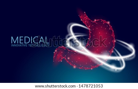 Human healthy stomach recovery system medicine concept. 3D low poly digestion reconstruction technology pharmacy drugstore banner. Health care vector illustration