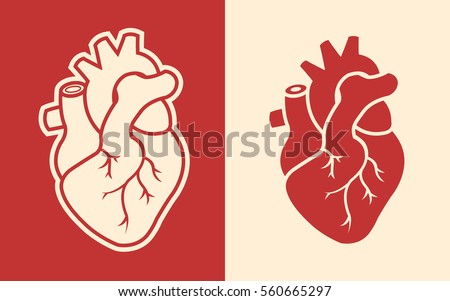 human heart icons isolated on