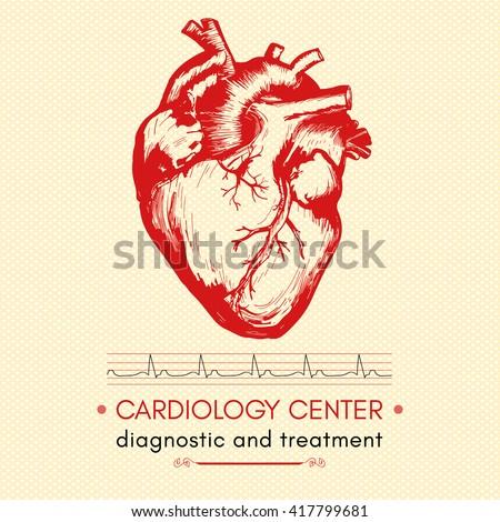Human heart medical symbol of cardiology logo cardiology center vector