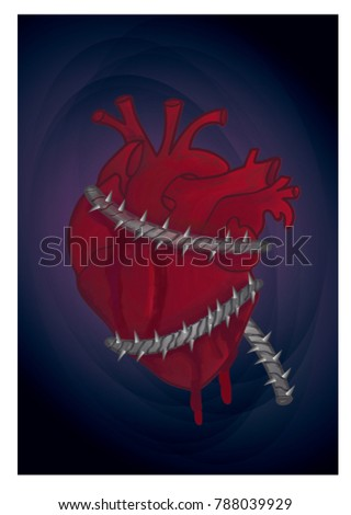human heart strain with barbed