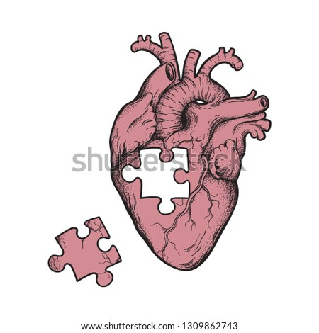human heart with missing puzzle