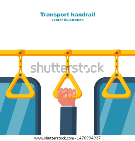 Human holds on to the handrail in public transport. Hanging yellow handle. Ceiling bracket. Handles for passengers. Grip metro or bus. Vector illustration flat design. Isolated on white background.
