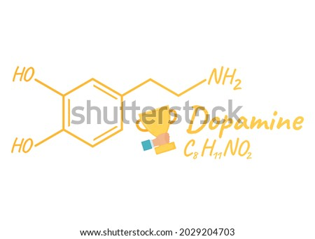 Human hormone dopamine concept chemical skeletal formula icon label, text font vector illustration, isolated on white. Periodic element table. Healthy lifestyle endocrine system.