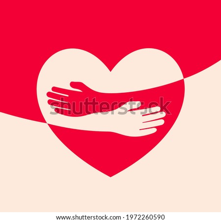 Human hugs in heart shape, hugging hands support and love symbol hugged arms girth silhouette unity and warmth feeling, flat vector illustration, logo template.