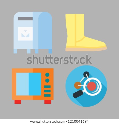 human icon set. vector set about microwave, mailbox, boot and molecule icons set.