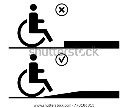 Human in a wheelchair in front of pavement with ramp and without. Concept for barrier free environment for physically challenged people. Vector illustration.