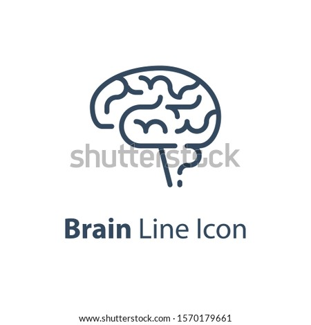 Human internal organ, brain side view, neuroscience concept, behavior research, vector line icon, linear design illustration