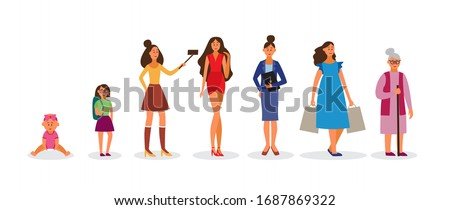 Human life cycle from childhood to elderly age female characters set, vector illustration isolated on white background. Aging, development and growing process.