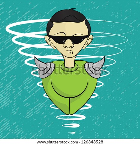 Human like alien cartoon with sun glasses, vector, EPS10
