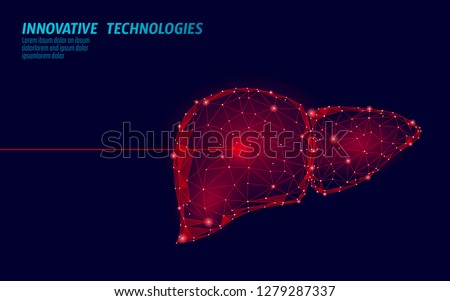 Human liver laser surgery operation low poly. Medicine disease drug treatment painful area. Red triangles polygonal 3D render shape. Pharmacy hepatitis cancer template vector illustration