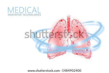Human lungs 3D health care recovery medical concept. Low poly internal organ avoid disease banner. Polygonal glowing medicine cure tuberculosis vector illustration