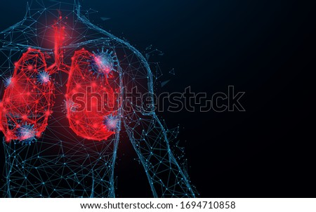 Human lungs. Respiratory virus and coronavirus outbreak and coronaviruses influenza. Lines, triangles, particle, Low poly and wireframe design