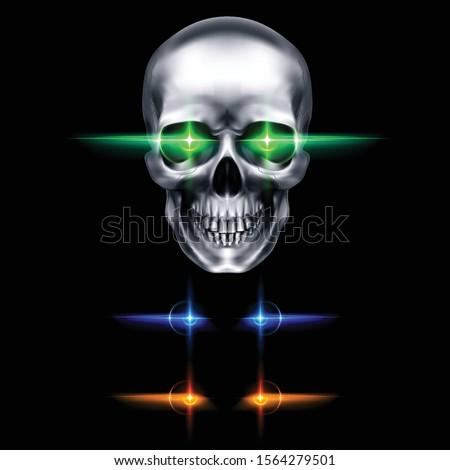 human metallic skull with green