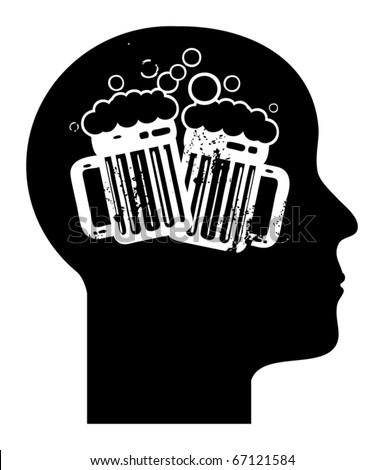 Human mind - beer mugs, vector illustration