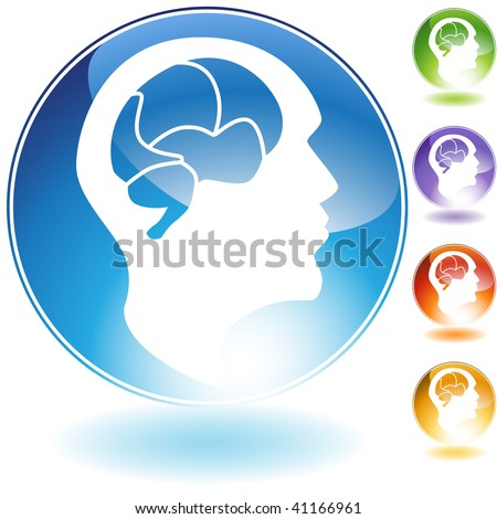 Human mind crystal icon isolated on a white background.