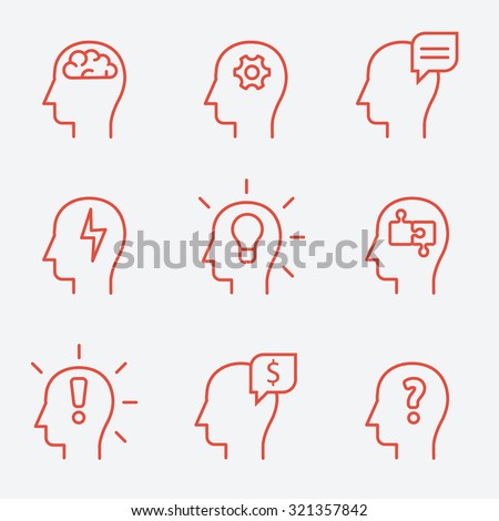 Human mind icons, thin line style, flat design
