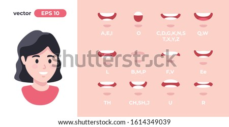 Human mouth set. Woman lip sync collection for animation and sound pronunciation. Character face elements. Emotions: smiling, screaming. Simple cartoon design. Flat style vector illustration. Сток-фото ©