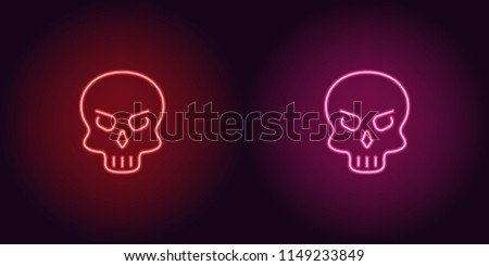 human neon skull in red and