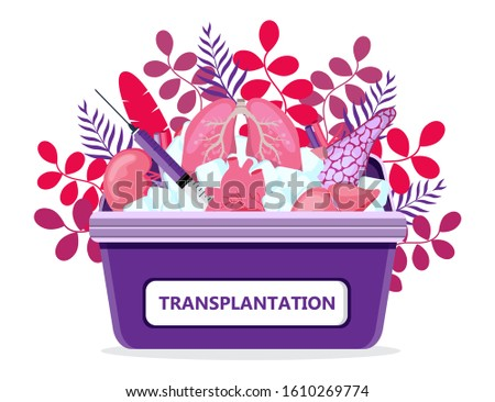 Human organ donor transplantation concept vector for banner, medical website on floral background. Medical case with ice. World organ Donor Day or Week. Lungs, heart, kidneys, pancreas are shown.
