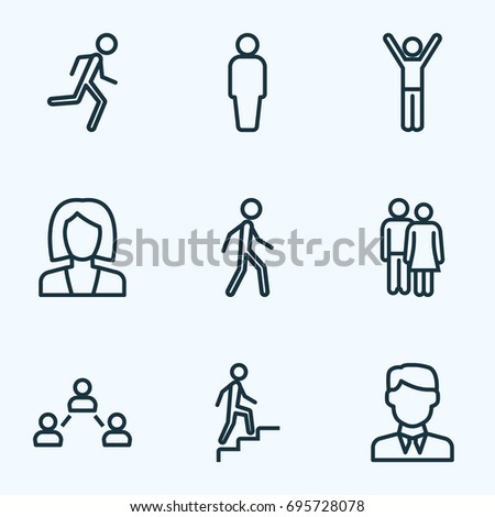 Human Outline Icons Set. Collection Of Worker, Couple, Business And Other Elements. Also Includes Symbols Such As Lover, Stairs, Walking.