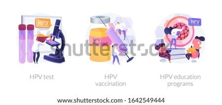 Human papillomavirus prevention, immunity development, antivirus creation. HPV test, HPV vaccination, HPV education programs metaphors. Vector isolated concept metaphor illustrations.