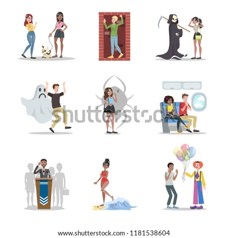 Human phobia set. Collection of irrational human fears. Psychology and psycho therapy concept. Claustrophobia and fear of clown. Social anxiety. Vector flat illustration