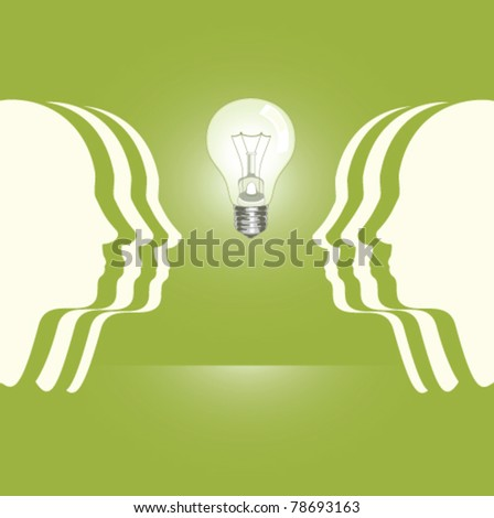 human profiles with a light bulb between
