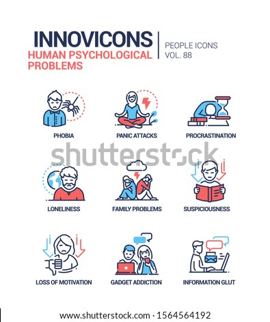 Human psychological problems line design style icons set. Phobia, panic attacks, procrastination, loneliness, family issues, suspiciousness, loss of motivation, gadget addiction, information glut