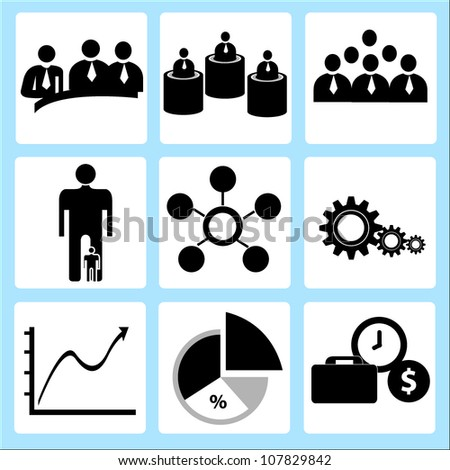 human resource and business, icon set
