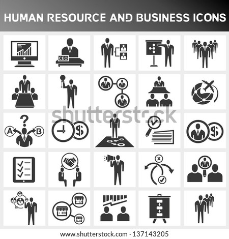 human resource and business icon set
