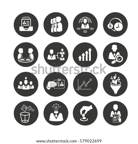 human resource and business management icons set in circle button style